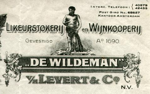 Hercules op briefhoofd Likeurstokerij en Wijnkoperij 'De Wildeman'