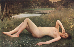 collin: nude in the grass
