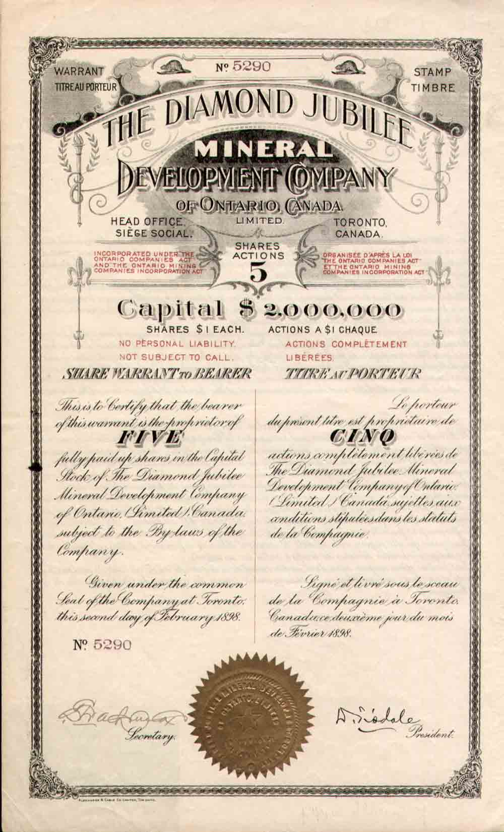 Scripophily Canada Old Stocks